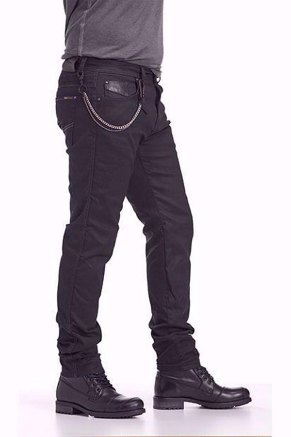 NY01 BLACK Coated Motorcycle jeans